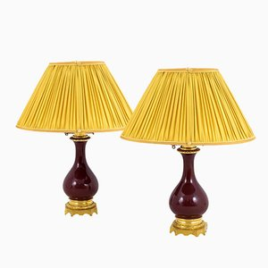 Antique Red Porcelain Table Lamps, Set of 2