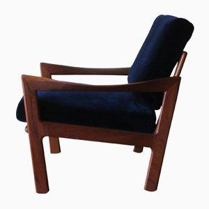Sessel mit Gestell aus Teak & blauem Samtpolster von Illum Wikkelsø für Niels Eilersen, 1960er
