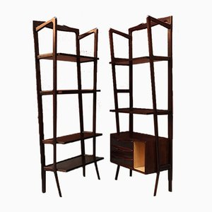 Italian Beech and Rosewood Shelves, 1960s, Set of 2