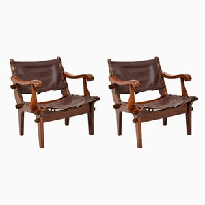 Vintage Leather and Rosewood Safari Armchairs by Angel I. Pazmino, 1960s, Set of 2