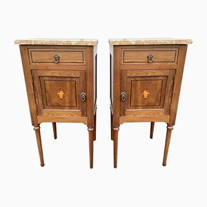 Antique French Inlaid Wood and Marble Nightstands, Set of 2