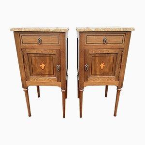 Tables de Chevet Antiques en Marbre et Bois Incrusté, France, Set de 2