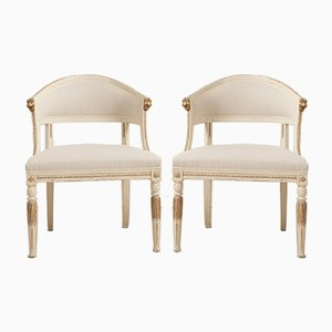 Antique Swedish Barrel Back Armchairs, Set of 2
