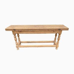 Mesa de cocina francesa rústica antigua de roble blanqueado