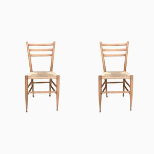 Italian Beech and Wicker Side Chairs, 1950s, Set of 2