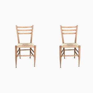 Italienische Beistellstühle aus Buchenholz & Korbgeflecht, 1950er, 2er Set