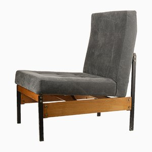 Italian Wood, Metal & Velvet Lounge Chair, 1970s