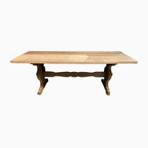 Mesa de comedor francesa rústica antigua de roble blanqueado