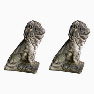 Antique Sandstone Garden Lions, Set of 2