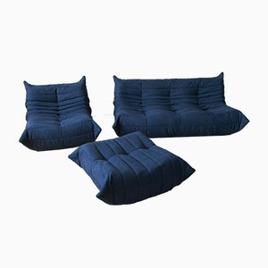 Vintage Blue Togo Living Room Set by Michel Ducaroy for Ligne Roset, 1970s