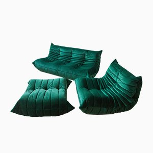 Vintage Bottle Green Velvet Togo Living Room Set by Michel Ducaroy for Ligne Roset, 1970s