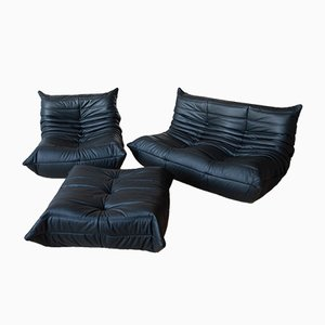 Vintage Black Leather Togo Living Room Set by Michel Ducaroy for Ligne Roset, 1970s