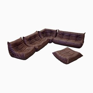 Vintage Brown Leather Togo Living Room Set and Footstool Set by Michel Ducaroy for Ligne Roset, 1980s