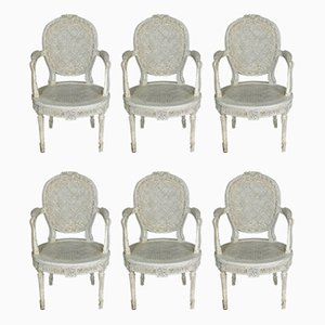 Antique Belgian Armchairs from Massant, Set of 6