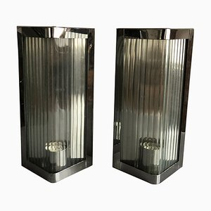 Italian Stainless Steel and Reeded Glass Sconce, 1990s