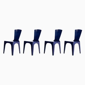 Blue Lacquered Wooden Dining Chairs, 1980s, Set of 4