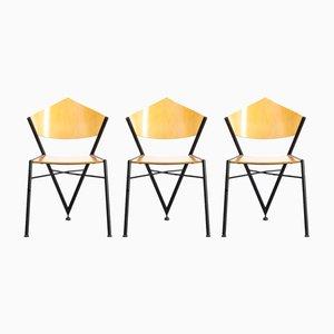Dreibeinige Stühle aus Metall & Schichtholz, 1970er, 3er Set