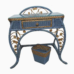 Vintage Blue and Gold Rattan Dressing Table, 1970s