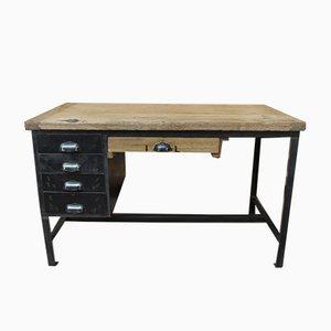 Industrieller Schreibtisch aus Metall & Eiche, 1950er