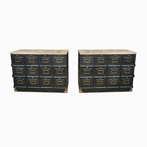 Schränke aus Metall & Kupfer von Strafor, 1920er, 2er Set