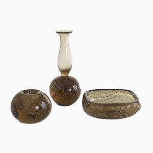 Vases Mid-Century en Verre Ambré de Venini, Set de 3