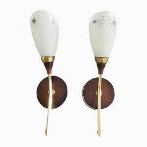Brass, Glass & Wood Sconces, 1950s, Set of 2