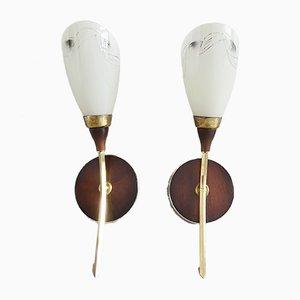Brass, Glass & Wood Sconces, 1950s, Set of 2