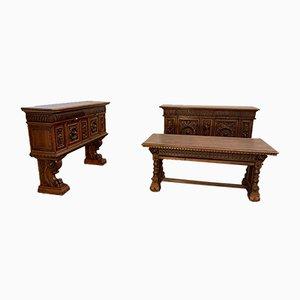 Antikes Renaissance Wohnzimmergarnitur, 3er Set