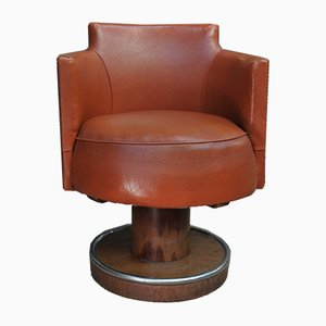 Art Deco Mahogany & Leather Desk Chair, 1930s
