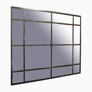 Großer industrieller Spiegel mit Metallrahmen, 1920er