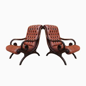 Chesterfield Leather & Beech Lounge Chairs, 1980s, Set of 2