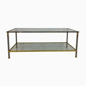 French Nickel and Brass Coffee Table, 1970s