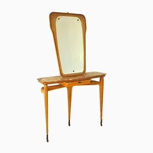 Konsolentisch aus Holz & Messing mit Spiegel von Ico Parisi, 1950er
