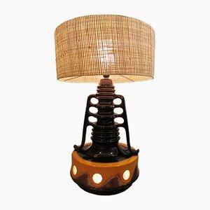 Niederländische Tischlampe mit Lampenschirm aus Rattan, 1950er