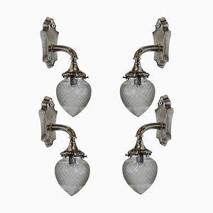 Antike silberne Wandleuchten, 4er Set