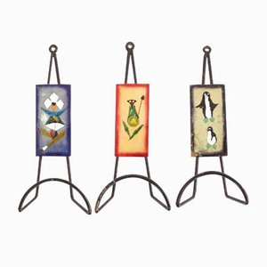 Italian Enamel Coat Racks by Paolo De Poli, 1950s, Set of 4