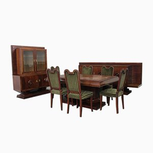 Rosewood Complete Dining Room Set by Jaque Kleine, 1943, Set of 9