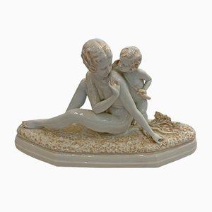 Frau & Kind Skulptur von Sevres, 1920er