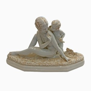Woman and Child Sculpture from Sevres, 1920s