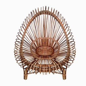 Mid-Century Wicker Lounge Chair by Janine Abraham & Dirk Jan Rol for Rougier, 1950s