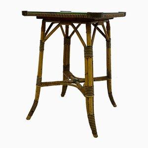 Mesa auxiliar vintage de bambú y latón, años 20