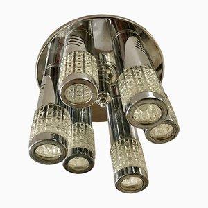 Lámpara colgante de cromo de Gaetano Scoliari, años 70