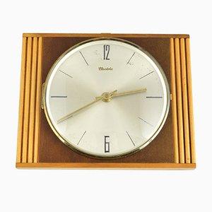 Deutsche Mid-Century Uhr aus Holz von Diehl