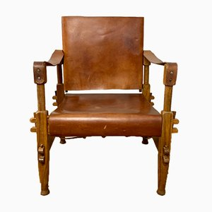 Mid-Century Danish Walnut and Leather Safari Chair from Butwal Technical Institute Nepal