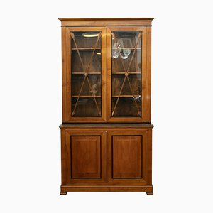 Antique Cherry Wood Display Cabinet