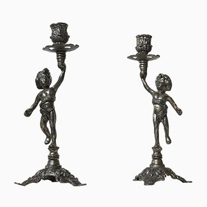 Candleholders with Cherubs, 1950s, Set of 2