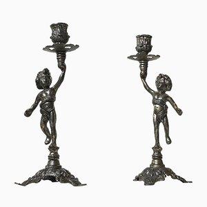 Kerzenhalter mit Engelchen, 1950er, 2er Set