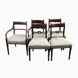 Antique Mahogany Dining Chairs, Set of 5, 1910
