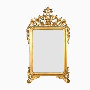 Specchio antico al mercurio in legno dorato