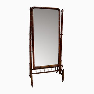 Antiker französischer Spiegel mit Rahmen in Bambus-Optik